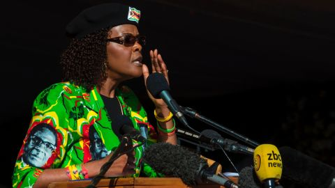 Zimbabwe first lady Grace Mugabe addresses the crowd during a Zimbabwe ruling party Zimbabwe African National Union Ð Patriotic Front (ZANU-PF) youth rally at Rudhaka Stadium in Marondera on June 2, 2017.  Zimbabwean President Robert Mugabe on June 2, 2017 launched a nationwide 10-venue speaking tour aimed at drumming up support ahead of elections next year when he plans to seek office again. The 93-year-old leader, who appeared in better health than at some recent public appearances, spoke for an hour and a half at a rally outside Harare attended by several thousand ZANU-PF supporters.  / AFP PHOTO / Jekesai NJIKIZANA        (Photo credit should read JEKESAI NJIKIZANA/AFP/Getty Images)