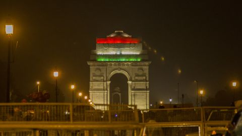 Delhi monuments are lit up in the colors of the Indian flag as the city prepares to celebrate the 70th anniversary of Independence from British rule