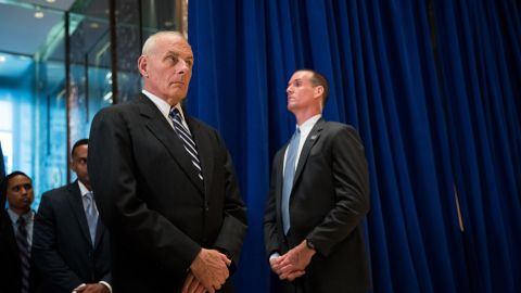 White House Chief of Staff General John Kelly looks on as President Donald Trump speaks following a meeting on infrastructure at Trump Tower, August 15, 2017 in New York City. He fielded questions from reporters about his comments on the events in Charlottesville, Virginia and white supremacists.