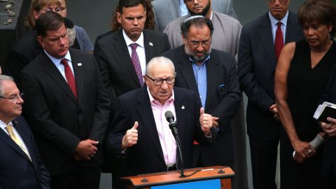 Holocaust survivor Israel Arbeiter speaks during a news conference at the New England Holocaust Memorial in Boston on Tuesday.