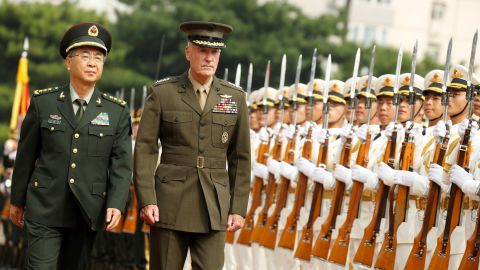 Gen. Joseph Dunford, chairman of the Joint Chiefs of Staff, and Chinese Gen. Fang Fenghui on Tuesday.