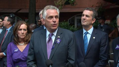 Virginia Govenor Terry McAuliffe speaks after the memorial service for Heather Heyer in Charlottesville on Wednesday, August 16.