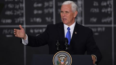 Vice President Mike Pence delivers a speech at the Buenos Aires Stock Exchange on August 15, 2017.