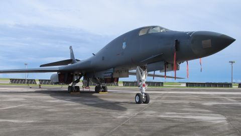 A B-1 Bomber on a runway at Andersen Air Force Base on August 17. 2017.