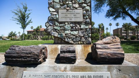 A monument honoring Confederate soldiers at the Arizona State Capitol complex in Phoenix was cleaned after being vandalized.