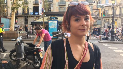 """Miren Stillitani, 30, lives just around the corner from Plaça Boqueria, where the van stopped its deadly rampage. She was at work when she heard the news of the attack.""""I was in a meeting and everyone started looking at their phones. I didn't believe it when they said it happened in Las Ramblas, by the metro. The first thing I did was to call my boyfriend because he was home. Luckily he was safe.""""She spends a lot of time in Las Ramblas, going for dinner or drinks in the popular promenade after work.""""In this neighborhood I felt quite safe. I thought it wouldn't be a target because there are also tourist places like Sagrada Familia. You hear about these things but you don't think they're going to happen to you.""""""""I feel empty. I feel insulted. It's like someone spitting on you.""""""""My everyday life is not going to change because of this. I was curious to see what the situation was. Everyday life must go on."""""""