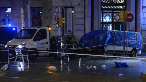The van used in the Barcelona attack was abandoned at the scene, August 18, 2017.