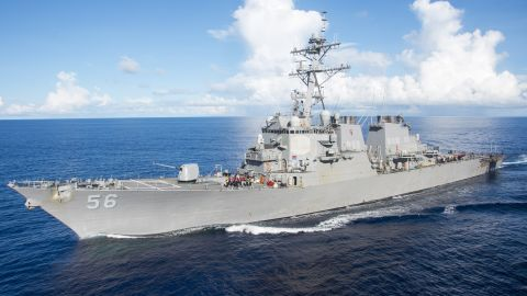 170614-N-DL434-064 PHILIPPINE SEA (June 14, 2017) The Arleigh Burke-class guided-missile destroyer USS John S. McCain (DDG 56) maneuvers alongside the amphibious assault ship USS Bonhomme Richard (LHD 6) for a refueling-at-sea. Bonhomme Richard is the flagship of its expeditionary strike group, operating in the Indo-Asia-Pacific region to serve as a forward-capability for any type of contingency. (U.S. Navy photo by Mass Communication Specialist Seaman Apprentice Gavin Shields/Released)