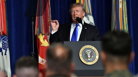US President Donald Trump speaks during his address to the nation from Joint Base Myer-Henderson Hall in Arlington, Virginia, on August 21, 2017. / AFP PHOTO / Nicholas Kamm        (Photo credit should read NICHOLAS KAMM/AFP/Getty Images)