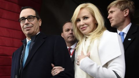 Stephen Mnuchin and his then-fiancee, Louise Linton, at Donald Trump's inauguration.