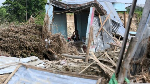 In 2017, floods in Nepal caused great damage to homes. A man is pictured resting in his house in Itahari, Sunsari district, some 250 kilometers from capital Kathmandu.