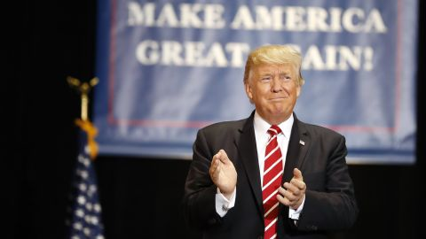 President Donald Trump arrives at a rally at the Phoenix Convention Center, Tuesday, Aug. 22, 2017, in Phoenix. (AP Photo/Alex Brandon)
