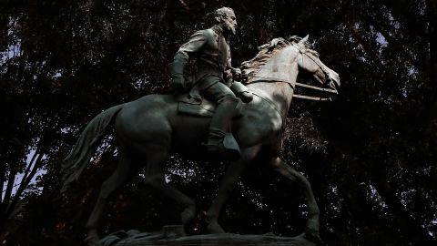 """The statue of Thomas Jonathan """"Stonewall"""" Jackson stands in Justice Park (formerly known as Jackson Park) on August 22, 2017 in Charlottesville, Virginia."""