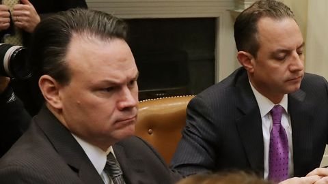 White House Deputy Chief of Staff for Legislative, Intergovernmental Affairs and Implementation Rick Dearborn (L) and Chief of Staff Reince Priebus attend a meeting with President Donald Trump and House of Representatives committee leaders in the Roosevelt Room at the White House March 10, 2017 in Washington, DC.