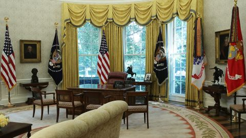 The Oval Office of the White House is seen after renovations including new wallpaper August 22, 2017 in Washington, DC.