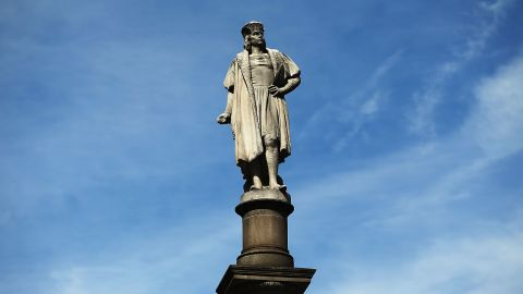 NEW YORK, NY - AUGUST 23:  A 76-foot statue of explorer Christopher Columbus stands in Columbus circle on August 23, 2017 in New York City. Following the recent violence in Charlottesville, many politicians, activists and citizens are calling for monuments dedicated to Confederate-era and other controversial figures to be taken down. Some New York politicians have included Columbus in this political debate.  (Photo by Spencer Platt/Getty Images)