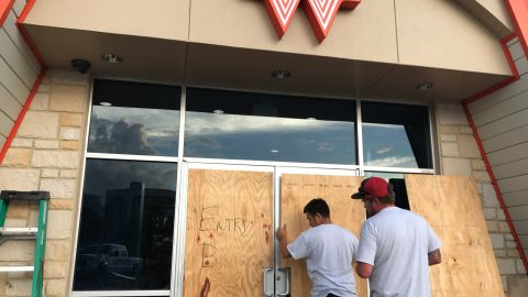 CNN's Sonia Moghe is on the ground in Corpus Christi and took photographs of residents boarding up their homes and businesses in advance of Hurricane Harvey.