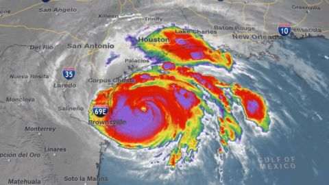 Hurricane Harvey in the Gulf of Mexico on August 25.