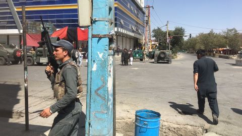 Afghan security officials are on the scene Friday near the Imam Zaman Mosque in Kabul.