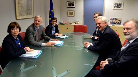 EU chief Brexit negotiator Michel Barnier and UK Brexit Secretary David Davis at the first round of talks.