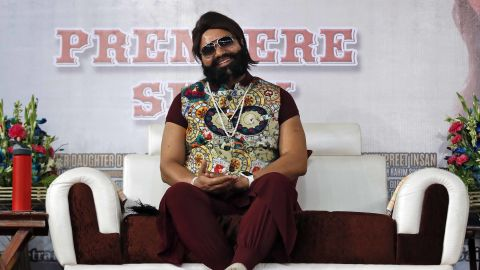 Gurmeet Ram Rahim Singh Ji Insan attends the premiere of the movie 'Jattu Engineer' in New Delhi, India in 2017.