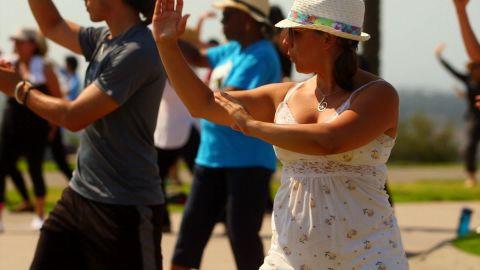 Taniela Irizarry, 37, takes a free tai chi class on Long Beach's Signal Hill.