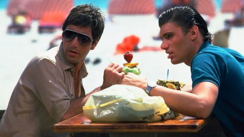 """<strong>""""Scarface"""":</strong> Al Pacino stars as Cuban drug kingpin Tony Montana and Steven Bauer stars as Manny Ribera in this film about a drug cartel in Miami in the 1980s. <strong>(HBO Now) </strong>"""