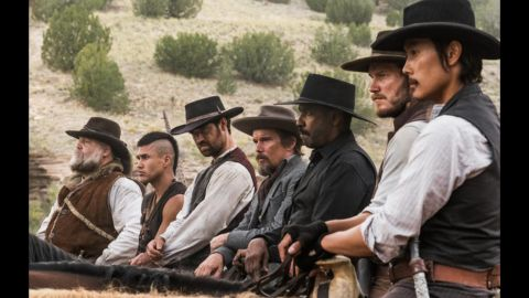 """<strong>""""The Magnificent Seven"""":</strong> Chris Pratt and Denzel Washington head up an all-star cast in this remake of a classic Western drama. <strong>(Hulu) </strong>"""