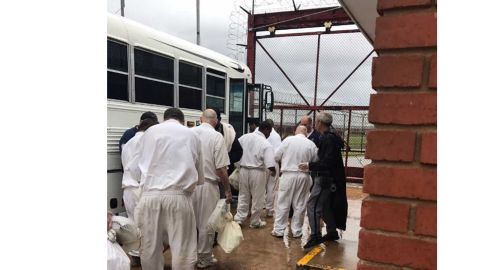 Staff evacuate inmates from three facilities near the Brazos River in anticipation of flooding.
