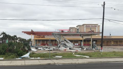 A gas station sits mangled in Port Aransas, Texas, on August 26.