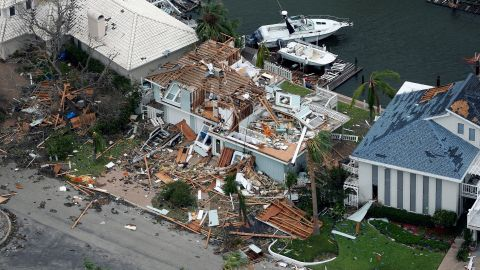 A damaged home is seen in the Key Allegro neighborhood of Rockport.