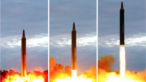 Photos appearing the show the launch of a missile which flew from North Korea over Japan on Aug 29 2017, published by North Korean State newspaper Rodong Sinmun