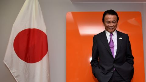 Japan's Finance Minister Taro Aso at a G7 summit of finance ministers on May 12, 2017 in Italy.