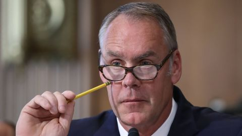 Interior Secretary Ryan Zinke listens to a question during a Senate Energy and Natural Resources Committee hearing on Capitol Hill, on June 20, 2017 in Washington, DC.  (Mark Wilson/Getty Images)