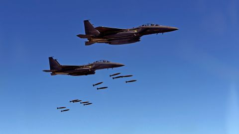 GANGWON-DO, SOUTH KOREA - AUGUST 31: In this handout image provide by South Korean Defense Ministry, South Korea's F-15K fighter jets drop bombs during a training at the Taebaek Pilsung Firing Range on August 31, 2017 in Gangwon-do, South Korea. U.S. and South Korea also operated air-to-ground strike drill in response to North Korea's ballistic missile launch which flied over Northern Japan on August 29.  (Photo by Handout/South Korean Defense Ministry via Getty Images)