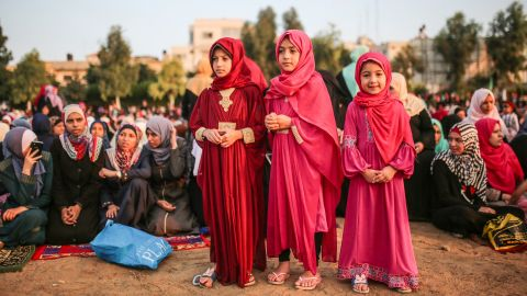 Muslims gather to perform the Eid Al Adha prayer at Es-Saraya Square in Gaza City, Gaza on September 1, 2017. Muslims worldwide celebrate Eid Al-Adha, to commemorate the holy Prophet Ibrahim's (Prophet Abraham) readiness to sacrifice his son as a sign of his obedience to God, during which they sacrifice permissible animals, generally goats, sheep, and cows. Eid-al Adha is the one of two most important holidays in the Islamic calendar, with prayers and the ritual sacrifice of animals.