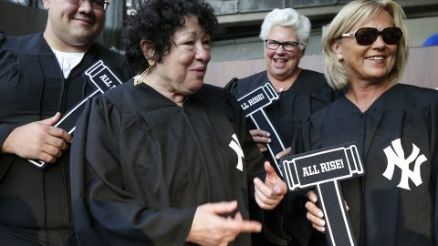 """Justice Sonia Sotomayor talks with fans in the """"Judge's Chambers"""" before a game between the Boston Red Sox and New York Yankees at Yankee Stadium on August 31, 2017 in New York."""
