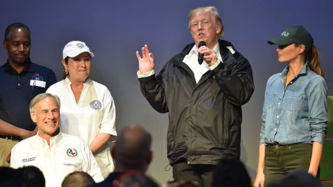 President Donald Trump speaks to volunteers at the First Church of Pearland while visiting areas affected by Hurricane Harvey on September 2.