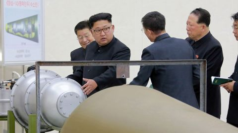 In this undated image distributed on Sunday, Sept. 3, 2017, by the North Korean government, shows North Korean leader Kim Jong Un at an undisclosed location.