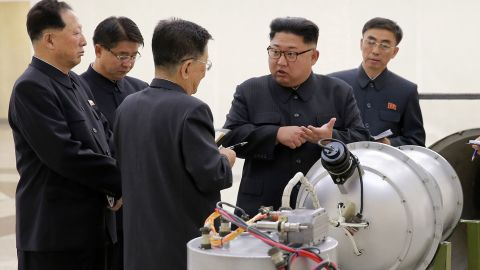 In this undated image distributed on Sunday, September 3, 2017, by the North Korean government, shows North Korean leader Kim Jong Un at an undisclosed location.