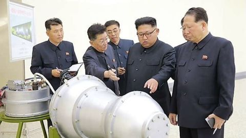 """North Korea's regime has """"succeeded in making a more developed nuke,"""" according to state news agency KCNA. During a visit to the country's Nuclear Weapons Institute """"he watched an H-bomb to be loaded into new ICBM,"""" KCNA added."""