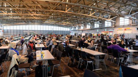 Evacuees at Messe Frankfurt Sunday.
