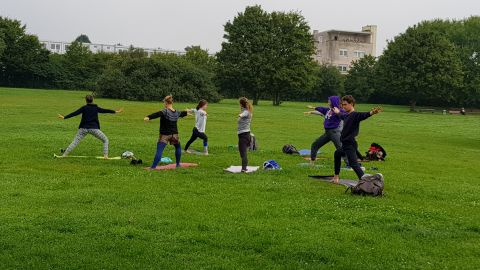 One group organized yoga for residents evacuated from their homes.