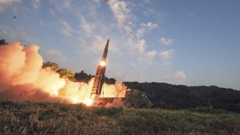 In this photo provided by South Korea Defense Ministry, South Korea's Hyunmoo II ballistic missile is fired during an exercise at an undisclosed location in South Korea, Monday, Sept. 4, 2017.