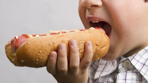 boy is biting a hotdog; Shutterstock ID 112094348; Job: -