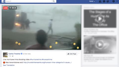 """This Facebook page purports to show """"live"""" footage of Hurricane Irma."""