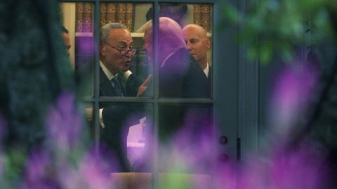 Senate Minority Leader Chuck Schumer and President Donald  Trump in the oval office Wednesday.