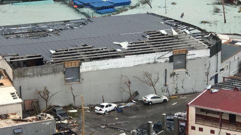 Damage from Hurricane Irma after it slammed Point Blanche, St. Maarten.