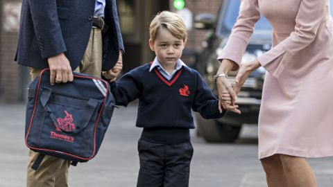 The couple's eldest son, Prince George, on his first day of school last September.