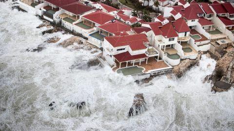 Waves smash into St. Martin on Wednesday, September 6.
